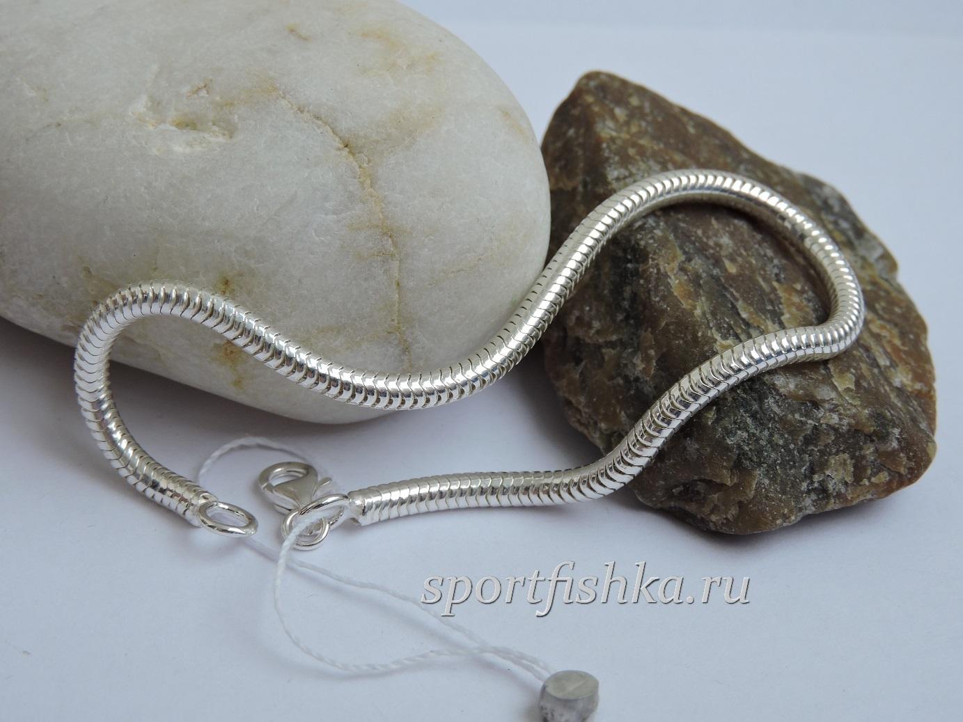 Браслет снейк серебро