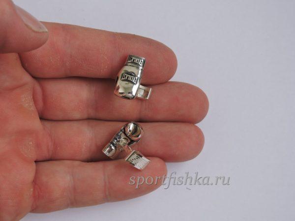 Запонки боксерские перчатки серебро