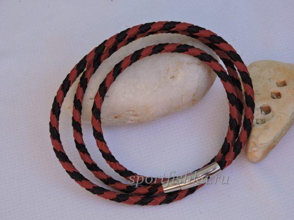 Кожаный шнурок красный с черным