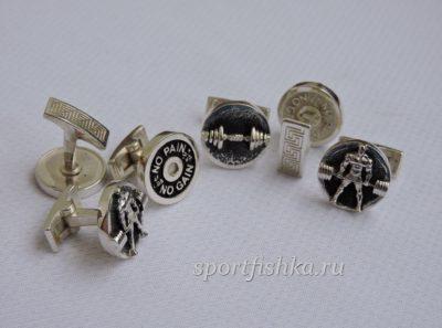 Спортивные запонки серебряные