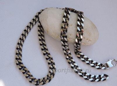 Цепочка панцирного плетения с чернением