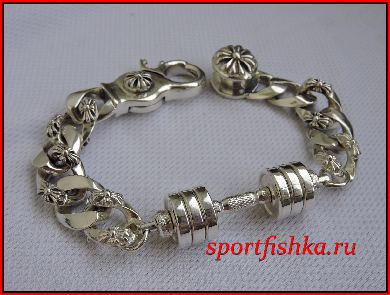 Подарок мужчине на день рождения, серебряный браслет