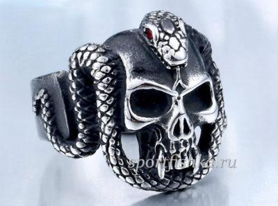 Стальное кольцо со змеей и черепом