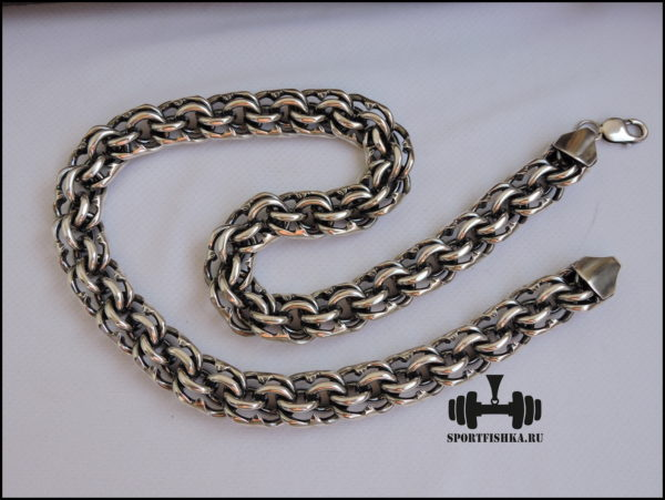 Толстая мужская цепь бисмарк серебро