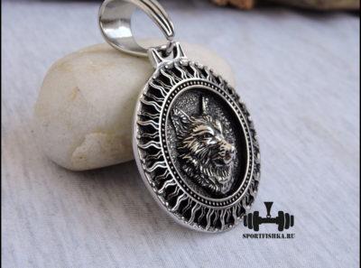 Кулон подвеска волк с цепочкой стальной