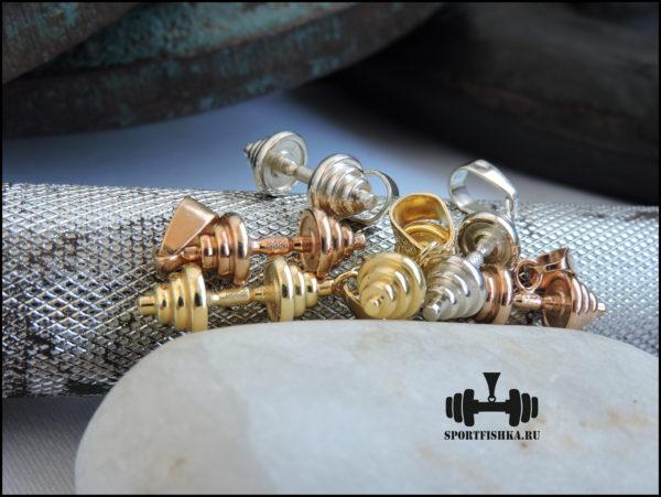 Подвеска гантеля золото серебро