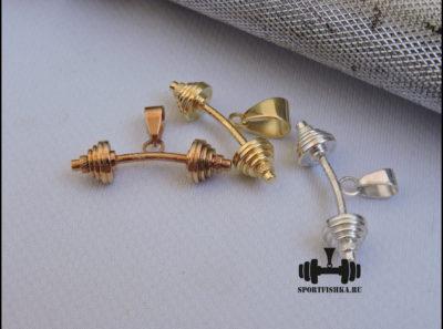 Кулон в виде штанги из серебра и золота
