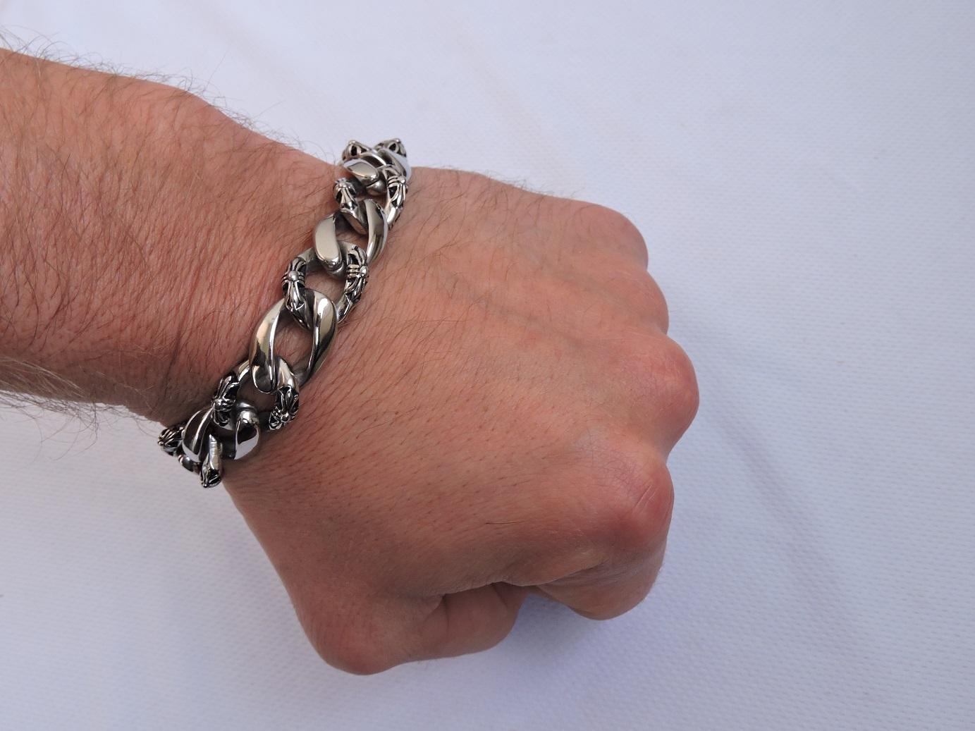 Стальной браслет мужской, подарок для мужчины на день рождения