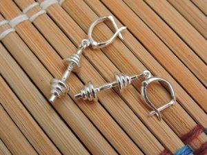 Сережки гантели из серебра