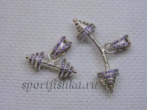 Серебряная штанга, серебряная гантель с фианитами