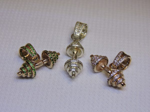 Гантели из золота с фиантитами