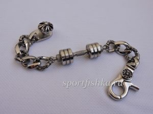 Стильный подарок тренеру браслет с гантелей