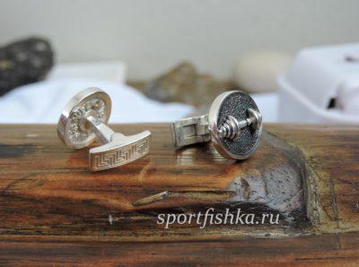 Запонки для спортсмена с гантелей
