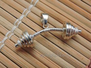 Штанга кулон большая из серебра