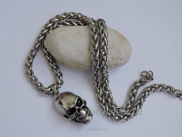 Подарок байкеру кулон череп с цепочкой