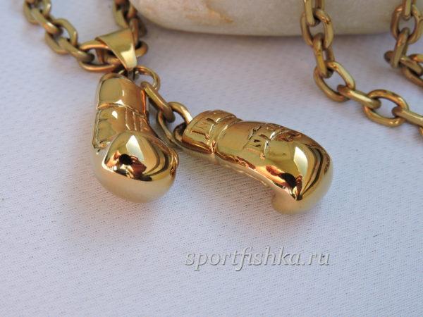 Кулон боксерские перчатки золото, Подарок тренеру боксеру