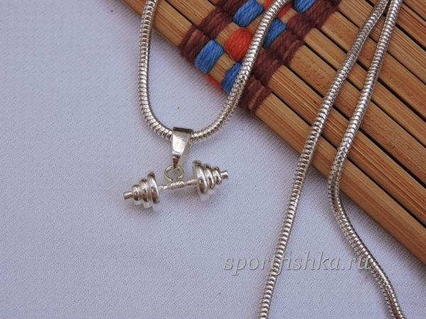 Женсикй подарок кулон гантель с цепочкой
