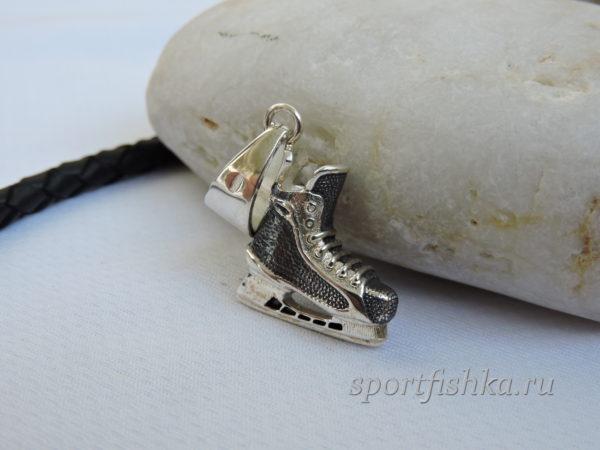 Кулон хоккейный конек серебро