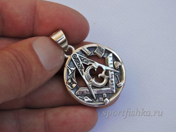 Масонский кулон серебро