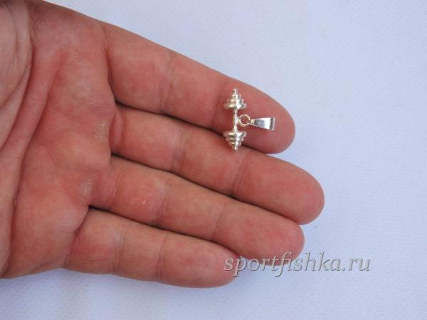Серебряная гантель маленькая