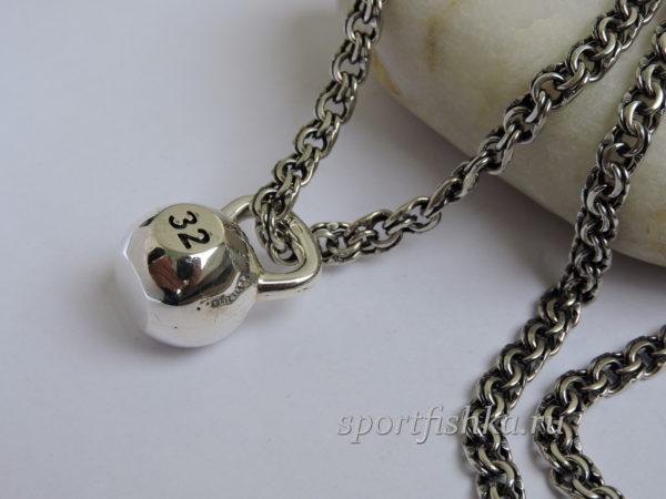 Подарок гиревику, подвеска гиря серебро