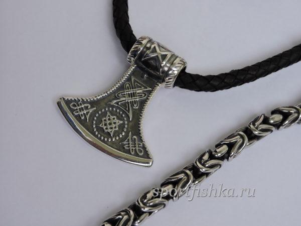 Славянские обереги, кожаный шнурок, секира оберег, цепочка лисий хвост