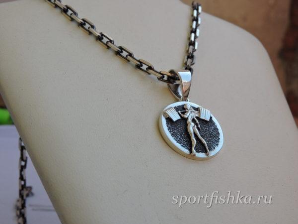 Женский спортивный кулон из серебра
