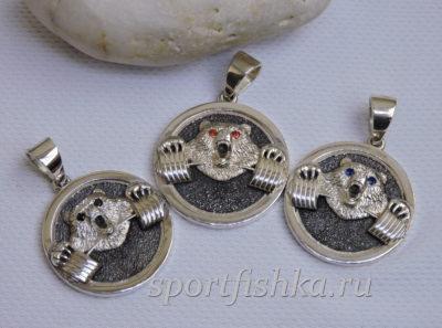 Подарок тренеру медведь подвеска серебро