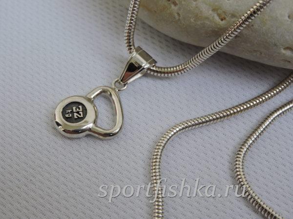 Подарок тренеру подвеска гиря серебро венецианская цепочка
