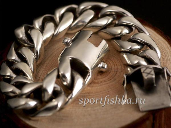 Большой серебряный браслет, подарок для мужчины