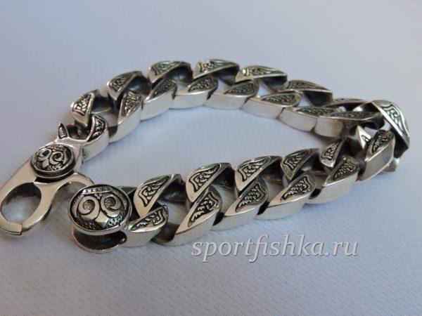 Большой серебряный мужской браслет