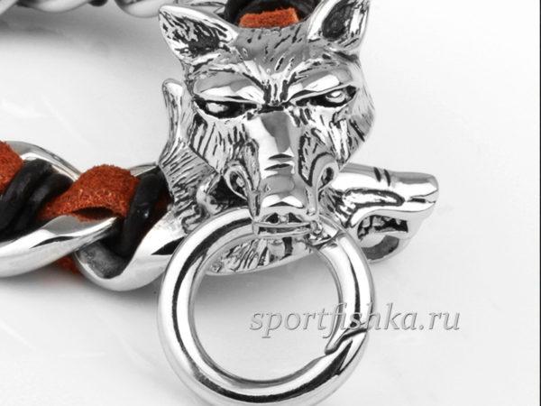 Браслет голова волка сталь