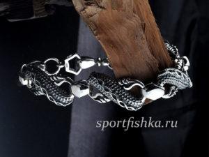 Браслет дракон серебряный мужской купить