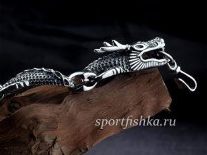 Браслет из серебра с драконом