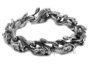 Браслет со змеями стальной