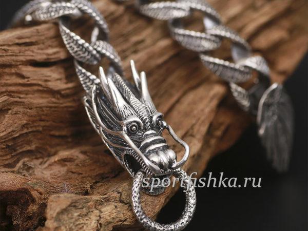 Браслет с головами драконов серебро