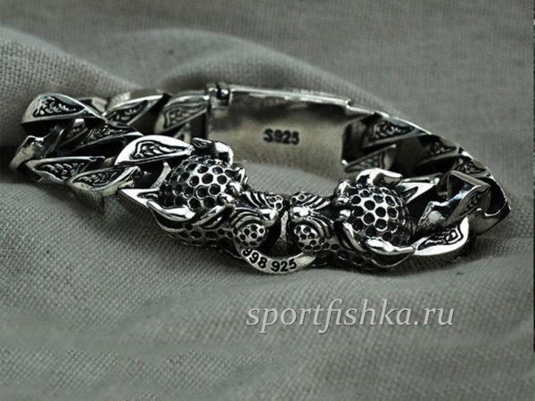 Браслет с леопардами из серебра
