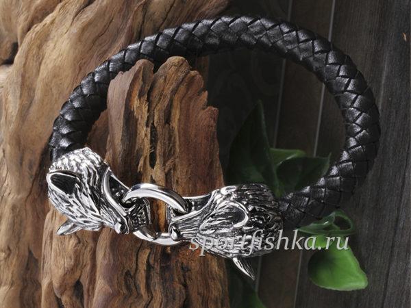 Кожаный браслет с волками, подарок мужчине