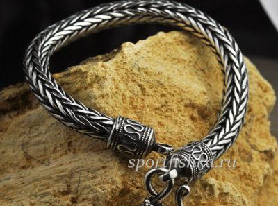Колос плетение, серебряный браслет