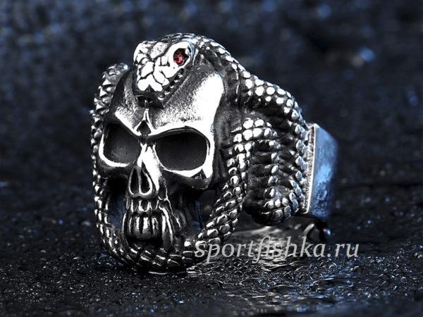 Кольцо из стали змея череп