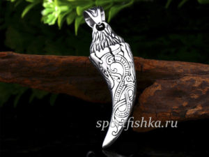 Кулон стальной клык волка дракон