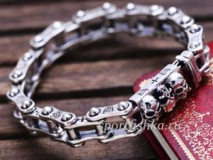 Купить серебряный браслет мужской мотоцепь