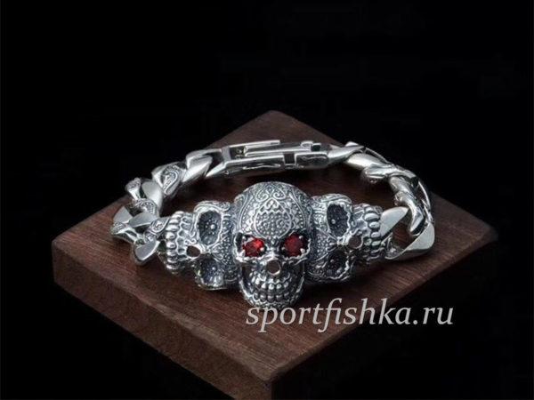 Купить серебряный браслет мужской с черепом