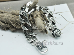 Массивный мужской браслет серебро