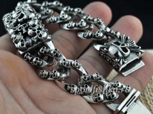 Массивный серебряный мужской браслет с черепами