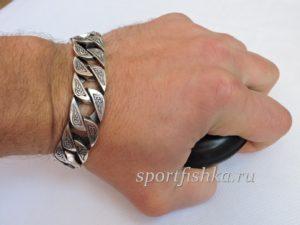 Массивный серебряный мужской браслет