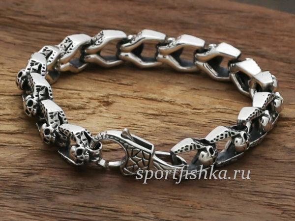 Мужские серебряные браслеты москва, браслет сч черепами