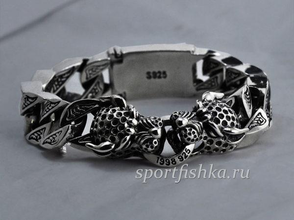 Мужские серебряные браслеты на руку с леопардом