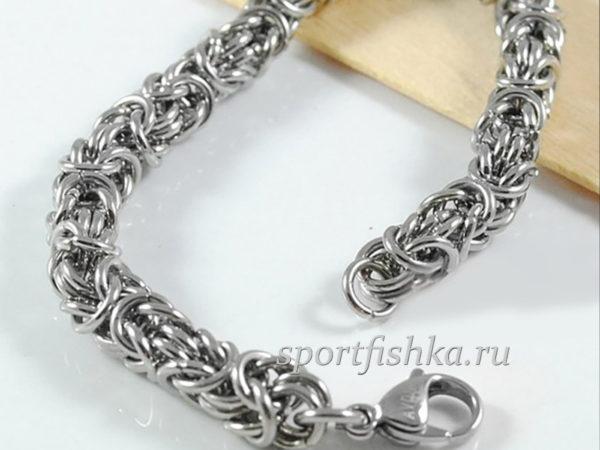 Мужской брутальный стильный браслет сталь
