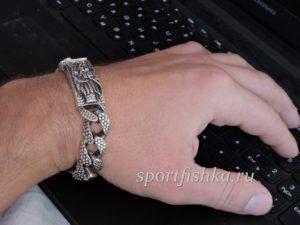 Мужской подарок браслет из серебра